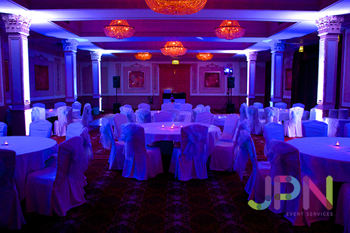 Uplighting Hire in blue and White for Events